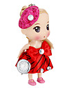 Feminino Boneca Forma Keychain Watch (Red)