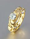 여자 친구가 유럽 명확한 모조 다이아몬드 왕실 문 반지 (금)를위한 선물 (1 개)