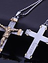Персональный подарок ювелирные изделия нержавеющей стали Иисус крестообразный гравировкой ожерелье ювелирных изделий с 60см цепи