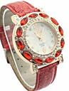 Diamante Femmes Blanc Dial PU bande de montre bracelet à quartz analogique (couleurs assorties)