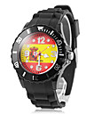 Men's Spain Flag Pattern Black Silicone Band Quartz Wrist Watch Football Cup Gift