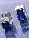 링 귀걸이 스테인레스 티타늄 스틸 모조 다이아몬드 블루 보석류 용 일상 크리스마스 선물