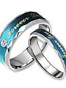 amantes da moda de aço inoxidável para sempre o amor azul casal anéis (2 peças)