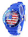 Men's USA Flag Pattern Blue Silicone Band Quartz Wrist Watch Football Cup Gift Cool Watch Unique Watch