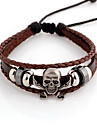 Ethnic Skull 14cm Unisex Coffee Leather With Silver Alloy Leather Bracelet(1 Pc)