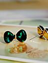 Curva verde brincos de cristal