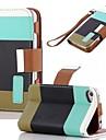 Cas corps lumineux et élégant de couleur PU complet de stand pour l'iPhone 4/4S (couleurs assorties)