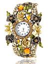 Women's Bohemia Style Champagne Flower Decor Bronze Alloy Quartz Bracelet Watch Cool Watches Unique Watches