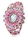 Women's Bohemia Style Pink Flower Decor Bronze Alloy Quartz Bracelet Watch Cool Watches Unique Watches