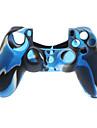 Темно-синий Protctive силиконовый чехол и 2 PCS Розовые Стик Захваты для PS4