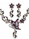 forma luxuosa borboleta flor liga roxo (colar&brincos) conjunto de jóias