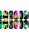 12PCS coloridos Aurora E Elk Luminous Art Nail Stickers