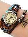 여자의 포도 수확 작풍 나비 펜던트 브라운 가죽 밴드 석영 팔찌 시계