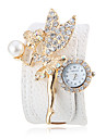 Women's Crystal Angel Decor White PU Band Bohemia Style Wrist Watch Cool Watches Unique Watches