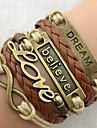 European Chaine With Love Pattern Decoration 23Cm Women'S Gold Alloy Charm Bracelet(1 Pc)