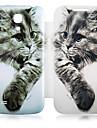 Для Кейс для  Samsung Galaxy Чехлы панели Флип С узором Чехол Кейс для Кот Искусственная кожа для Samsung S4 Mini