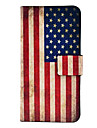 Vintage US Flag Pattern PU Leather Case with Magnetic Snap and Card Slot for Samsung Galaxy S4 mini I9190