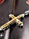 мужская мода золото / серебро / черный двухслойная крест из нержавеющей стали 316L кулон ожерелье