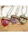 Европейский Leopard полосой персик сердца сплава ожерелье (Подробнее Цвет) (1 шт)