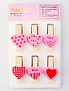 розовая любовь образец мини деревянного зажима (6-Pack)