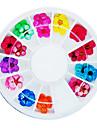 36PCS colorido secas unhas Flor de Pessegueiro Art Decorações