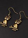 Earring Animal Shape / Owl Drop Earrings Jewelry Party / Daily Alloy Silver