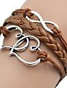 Shixin® European Heart 18cm Women's Brown Leather Wrap Bracelet(1 Pc)