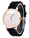 Women's Double Circle Dial Analog Quartz Black Silicone Band Wrist Watch