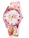 Женская розовый цветок шаблон Силиконовый браслет кварцевые наручные часы