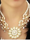 Жен. Мощность ожерелье Заявление ожерелья Жемчуг В форме цветка Жемчуг Винтаж Мода Массивные украшения Золотой Со стразами Бижутерия Для
