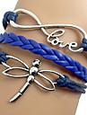 shixin® европейские стрекозы 18см женщин синий кожаный браслет обруча (1 шт)