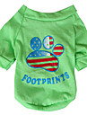 Dog Shirt / T-Shirt Yellow / Green Dog Clothes Spring/Fall National Flag / American/USA