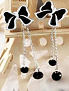 (Bow) Black Alloy Drop Earrings(Black) (1 Pair)