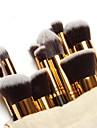 Conjunto de Pinceis para Maquiagem com 10 pçs, dourado. Grátis Bolsinha.