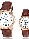 Masculino Mulheres Casal Relógio de Moda Quartzo Couro Banda Preta Branco Marrom Branco Preto Marron Preto