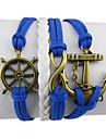 Retro Leme Anchor 8-Word Multi-camada pulseira de corda de couro