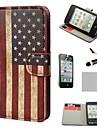 Коко FUN ® Ретро США флага Wallet всего тела Кожа PU тяжелых случаях с подставкой для IPhone 4S включены Кино и Stylus