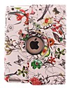 Color Complex Flower Rattan Design 360 Degree Rotating PU Leather Case & Stand for iPad 2/3/4