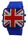남녀 공통 LED 영국 깃발 작풍 실리콘 악대 손목 시계 (분류 된 색깔)