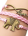 shixin® 유럽 코끼리 18cm 여성의 분홍색 가죽 포장 팔찌 (1 개)