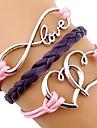 Мисс rose®european сердце 18см женщин многоцветной кожаный браслет обруча (1 шт)
