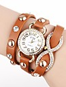 Women's Golden Dial Long Strap PU Band Quartz Analog Wrist Watch with Rhinestone (Assorted Colors) Cool Watches Unique Watches