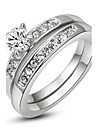 18K White/Rose Gold Plated with Pave Band 0.5ct Brilliant Cubic Zirconia Wedding Ring Set