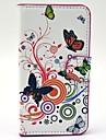 Beau cas Blanc Papillons motif de fleurs en cuir avec fente pour carte et stand pour Samsung Galaxy Express 2 G3815
