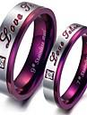Anéis Pesta / Diário / Casual Jóias Aço Titânio Feminino Anéis de Casal / Anéis Meio Dedo5 / 6 / 7 / 8 / 9 / 10 / 11 / 12 Púrpura
