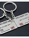 (2 PC) Carte de crédit de la Banque de Belle mode à haute teneur en acier inoxydable Ccouple Keychain