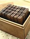 Деревянные Марки 28 Алфавит Письмо Нижний регистр Античная Деревянный Stamp