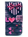 Love Heart Bow Pattern PU Leather Case with Card Slot and Stand for Samsung Galaxy S4 mini I9190