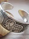 Mulheres Elephant Pattern Prata Totem Cuff Bracelet