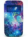 Leo o Padrão Starry Sky PU abrir a caixa Janela de couro com slot para cartão e suporte para Samsung Galaxy S4 mini-I9190